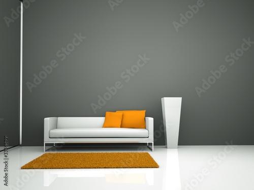 wohndesign weisses sofa vor grauer wand von virtua73 lizenzfreies foto 33365791 auf. Black Bedroom Furniture Sets. Home Design Ideas