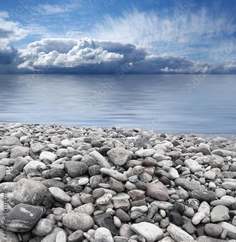 Beautiful view of a grey rocky mediterranean shore