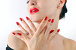 Red lips and manicure