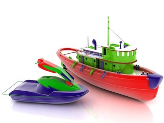 Toy scooter and boat