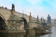 Charles Bridge above the Vltava river, Prague