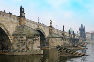 Charles Bridge above the Vltava river, Prague