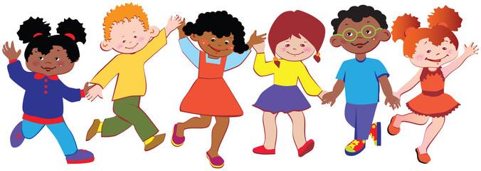 Happy children play together.  Vector art-illustration.