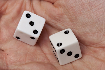 White dice with black dots