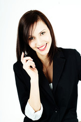Cheerful woman with a phone