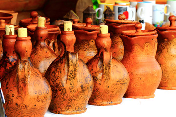 Some unique handicraft ceramic jugs