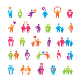 Fototapety set-icons-people-love-family