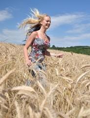 sexy blonde femme et champs de blé