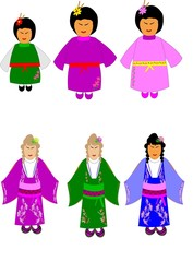 china dolls in various dress and styles