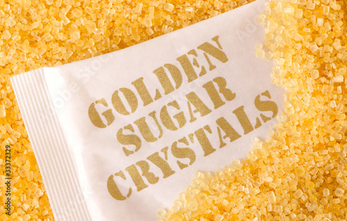 close up of golden sugar crystals