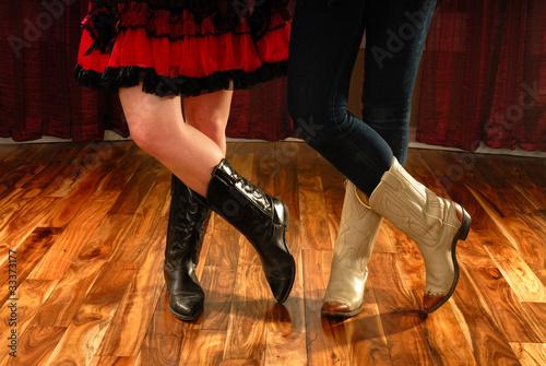 Line Dancing Female Legs in Cowboy Western Boots - 33373177
