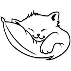 Gatto Cartoon Dorme su Cuscino-Sleeping Kitty-Vector