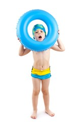 boy playing with blue life ring