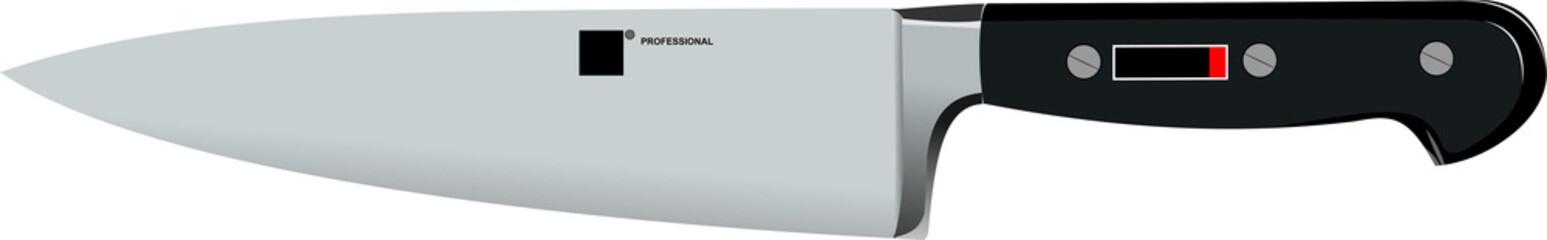 Stainless steel kitchen knife vector illustration