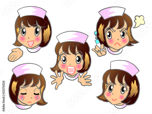 看護師さん 若い女性 喜怒哀楽 表情