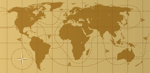 vector retro world map with compass rose