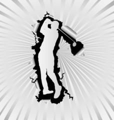 Golf silhouette break through white background
