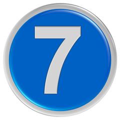 Button blau rund Rand ZAHL 7