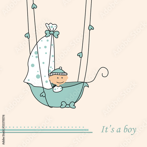 Baby boy arrival announcement retro card