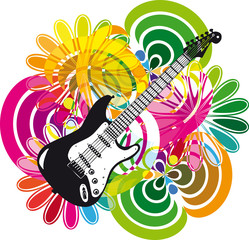 Electric guitar design. Vector illustration