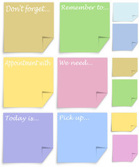 Post it notes with reminder messages