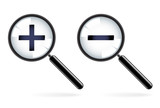 Monochromatic increase-decrease magnifiers icons poster