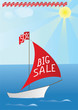 "A boat with words ""BIG SALE"" and sale percent on it's flag."