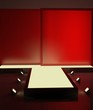 A red fashion podium with lighting