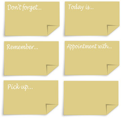 Reminder notes with folded corner