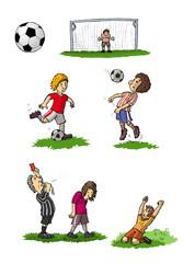 Kinder beim Fussballspiel, Illustration