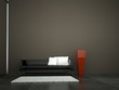 Wohndesign - Ledersofa mit roter Vase