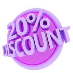 3d rendered, green 20 percent discount button