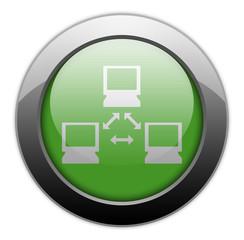"Green Metallic Orb Button ""Network"""