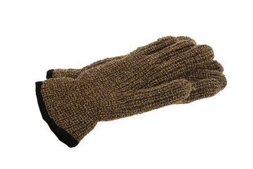 Pair of brown melange woollen gloves