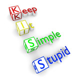 Keep It Simple Stupid principle, KISS text 3D concept rendering.