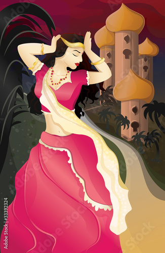 Illustration of beautiful indian woman