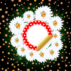 abstract background with daisies and grass