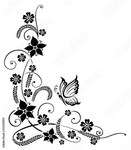 Ranke, flora, Blumen, Blüten, Korn, Gräser, schwarz