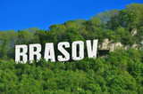 Brasov city in volumetric letters on Tampa mountain poster