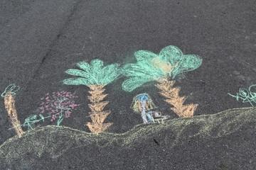 Childen's street chalk painting