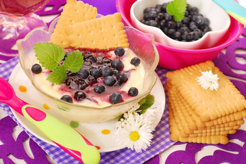semolina dessert with blueberry for baby