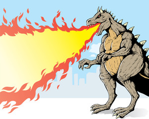 Giant monster, spewing flames in a city