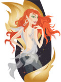 Beautiful redheaded girl with decorative golden fire flames.