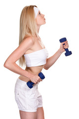 Portrait of a sporty woman with a dumbbell on white background
