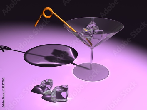 martini glass with ice cubes and straw