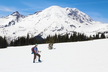 Woman Hiking in the Snow - Mt. Rainier National Park