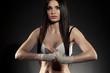 beautiful woman boxer portrait
