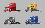 set of different trucks