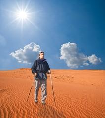 tourist in a sand desert