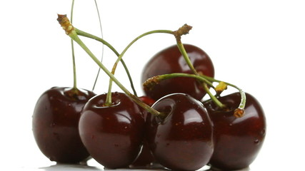 Cherry rotates on a white background